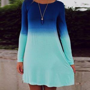 Long Sleeve Blue Ombré Dress